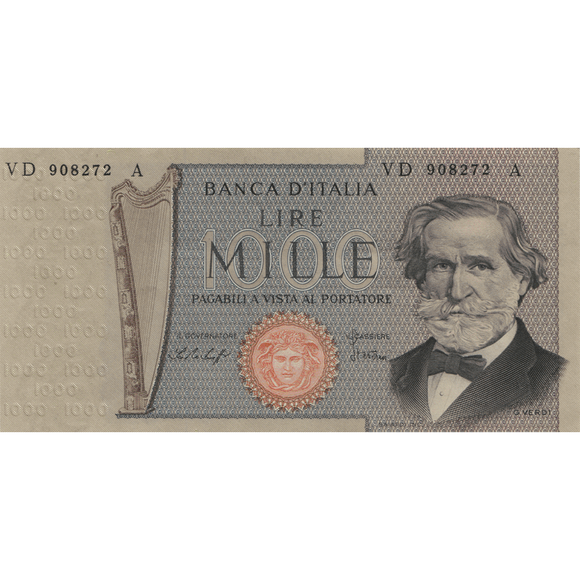Republic of Italy, 100'000 Lire, in circulation 1967-1974 (obverse)