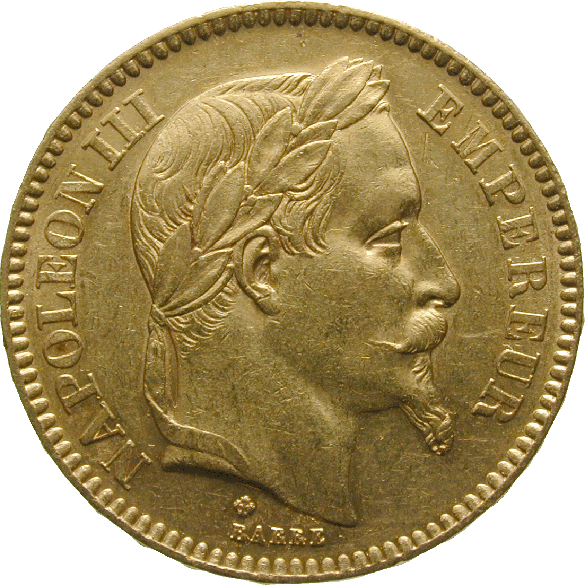 French Empire, Napoleon III, 20 Francs 1865 (obverse)