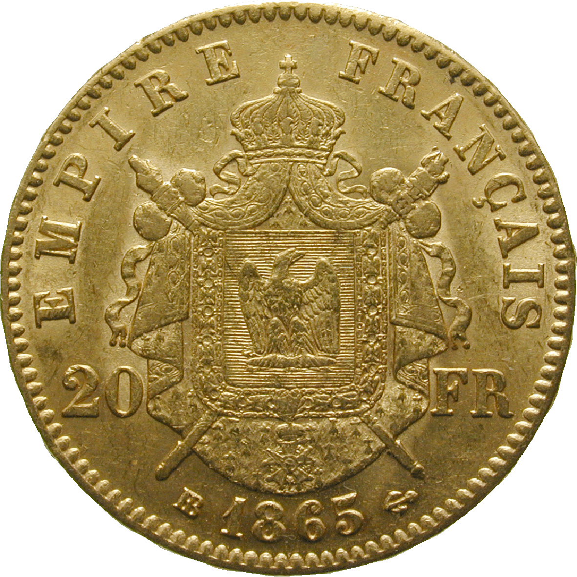French Empire, Napoleon III, 20 Francs 1865 (reverse)