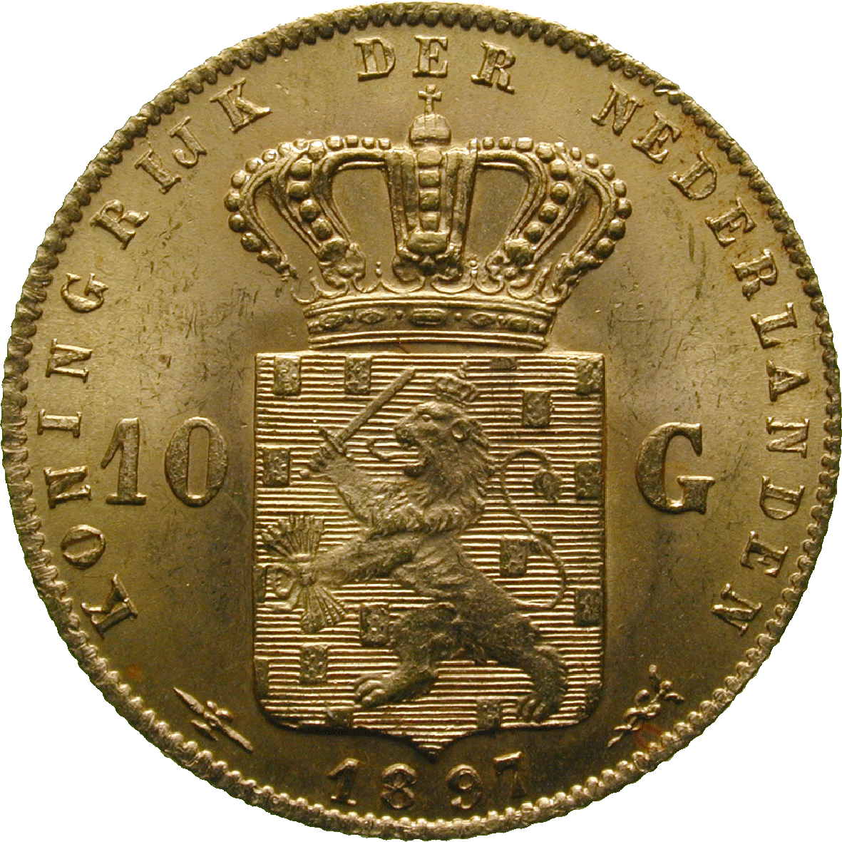 Kingdom of the Netherlands, Wilhelmina, 10 Gulden 1897 (reverse)