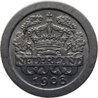Kingdom of the Netherlands, Wilhelmina, 5 Cents 1908 (obverse)