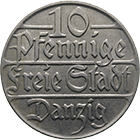 Weimar Republic, Free City of Danzig, 10 Pfennigs 1923 (obverse)