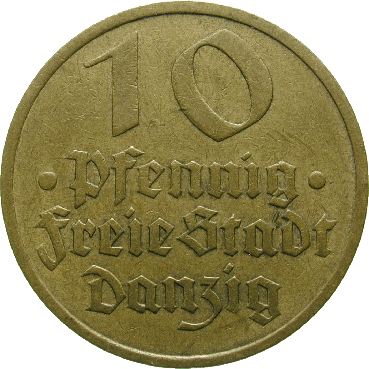 Weimar Republic, Free City of Danzig, 10 Pfennigs 1932 (obverse)