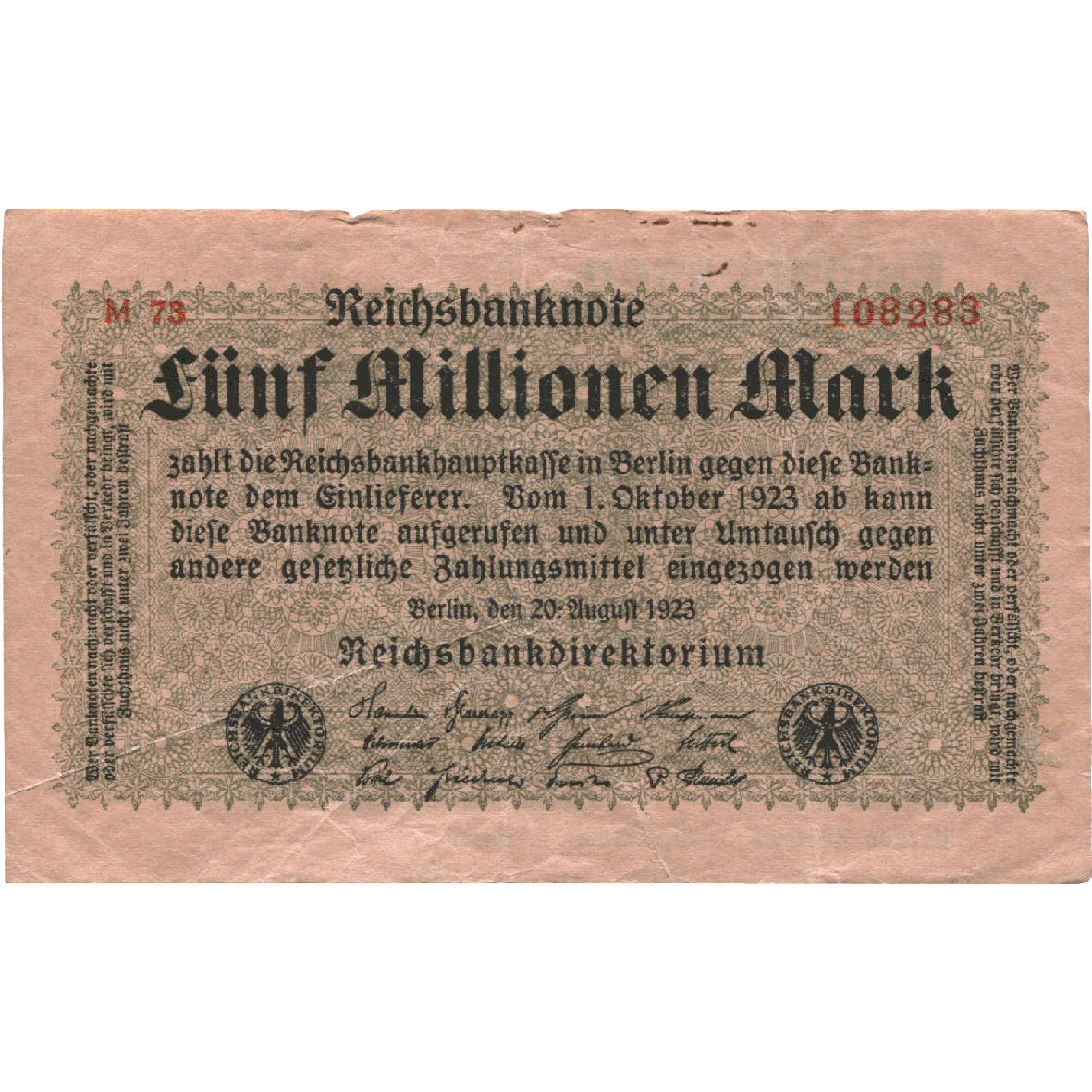 Swiss Federation, National Socialist Swiss Workers Party, Propaganda Bill «5 Million Mark» (obverse)