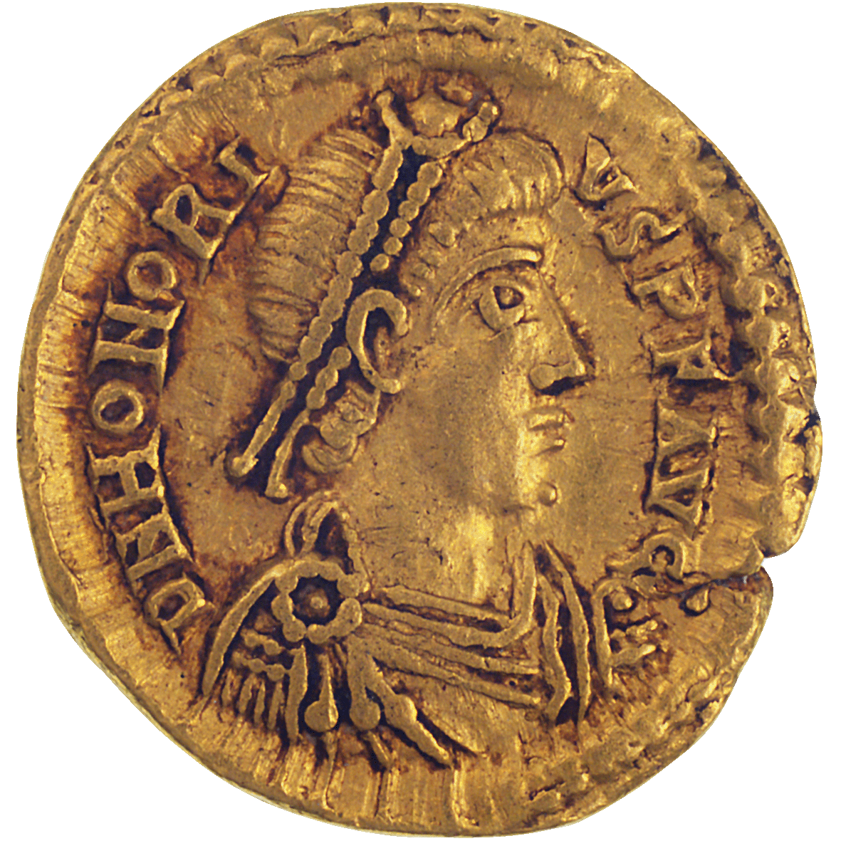 Roman Empire, Honorius, Tremissis (obverse)