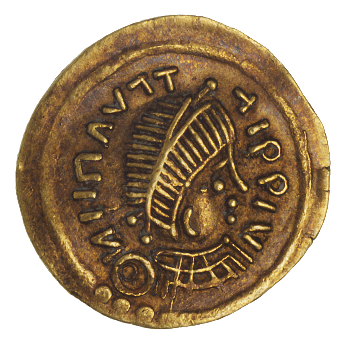 Kingdom of the Lombards, Perctarit, Tremissis (obverse)