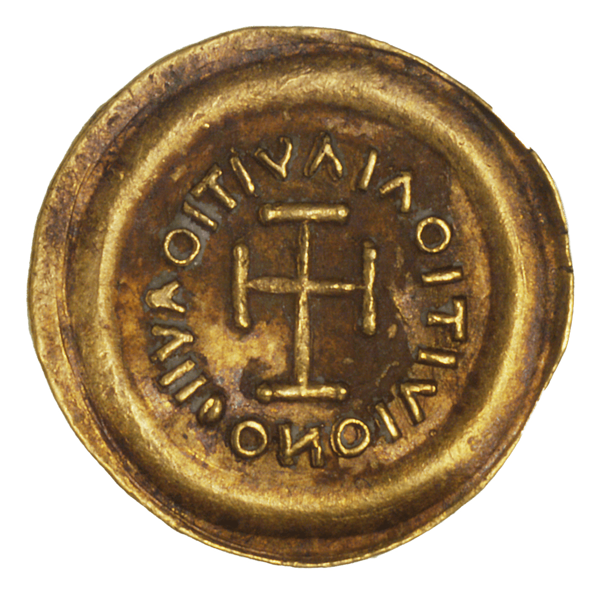 Kingdom of the Lombards, Perctarit, Tremissis (reverse)