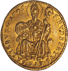 Holy Roman Empire, Archbishopric Salzburg, Johann Ernst of Thun and Hohenstein, 1/2 Ducat 1705 (obverse)