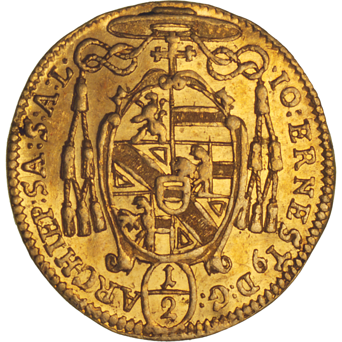 Holy Roman Empire, Archbishopric Salzburg, Johann Ernst of Thun and Hohenstein, 1/2 Ducat 1705 (reverse)
