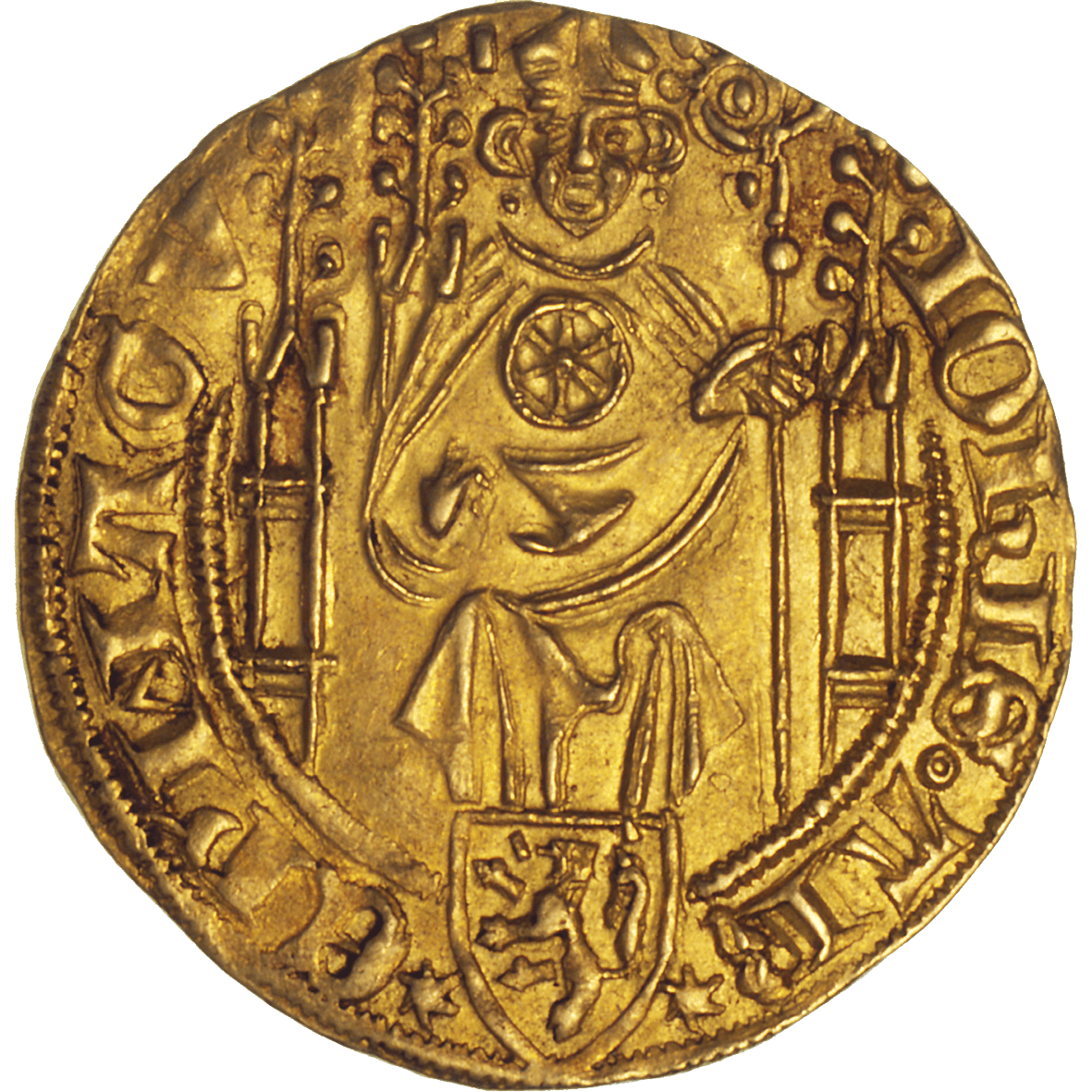 Holy Roman Empire, Archbishopric Mainz, Johann II of Nassau, Goldgulden (obverse)