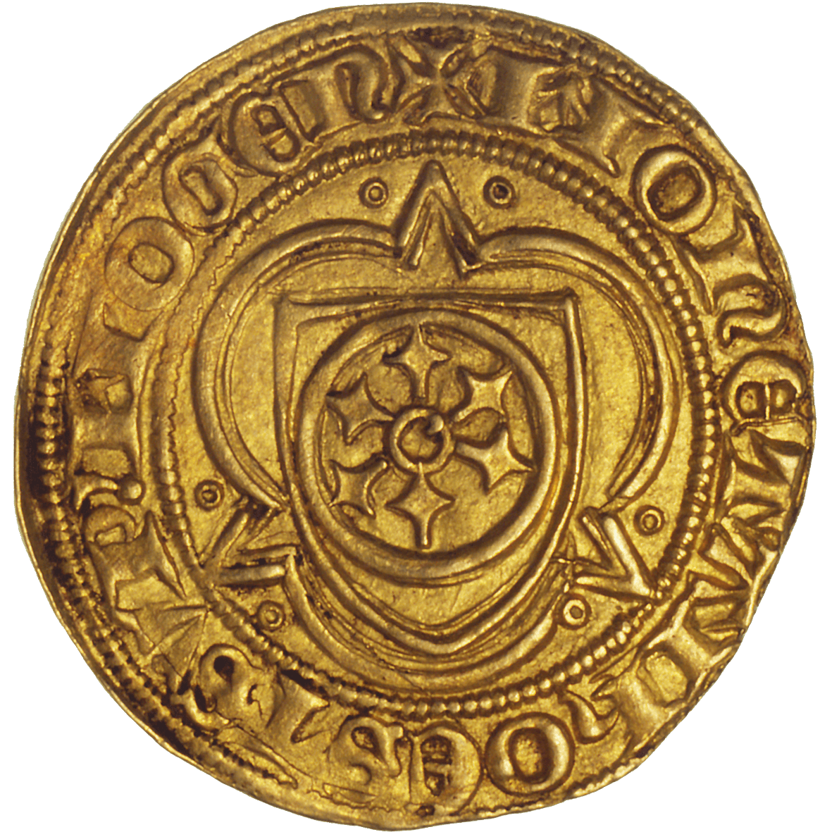 Holy Roman Empire, Archbishopric Mainz, Johann II of Nassau, Goldgulden (reverse)