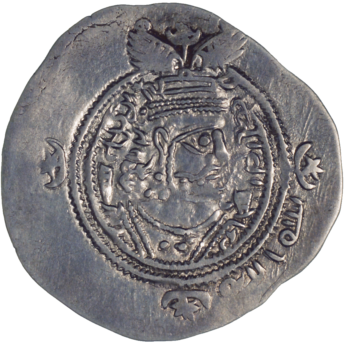 Arab-Sassanids, Drachm in the Name of Yazdegerd III, 31 AH (obverse)