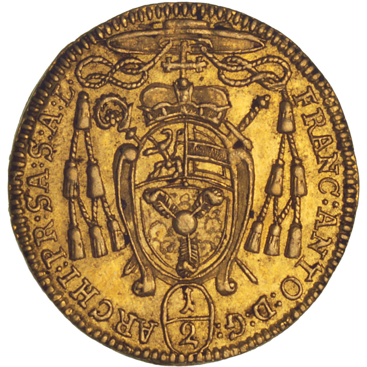 Holy Roman Empire, Archbishopric Salzburg, Franz Anton of Harrach, 1/2 Ducat 1709 (reverse)