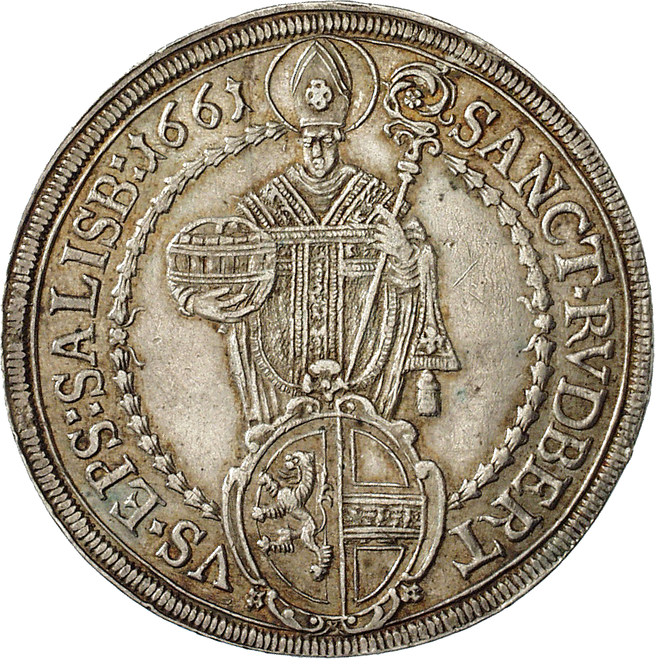 Holy Roman Empire, Archbishopric Salzburg, Guidobald of Thun and Hohenstein, Taler 1661 (reverse)