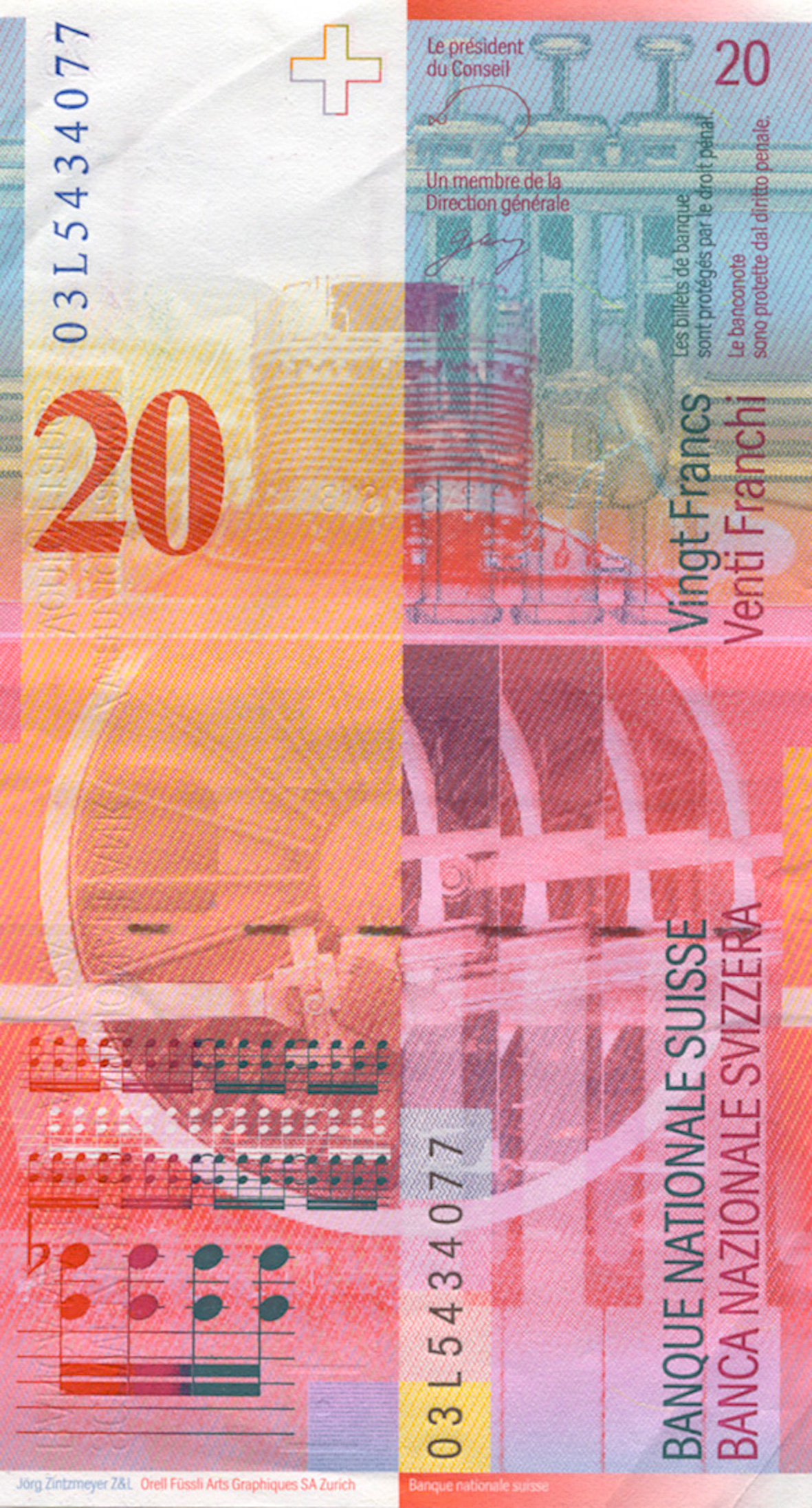 Swiss Confederation, 20 Franks 1980, 8th banknote series, in circulation since 1995 (reverse)