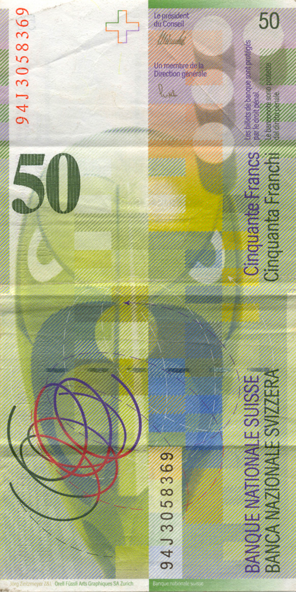 Swiss Confederation, 50 Franks 1980, 8th banknote series, in circulation since 1995 (reverse)