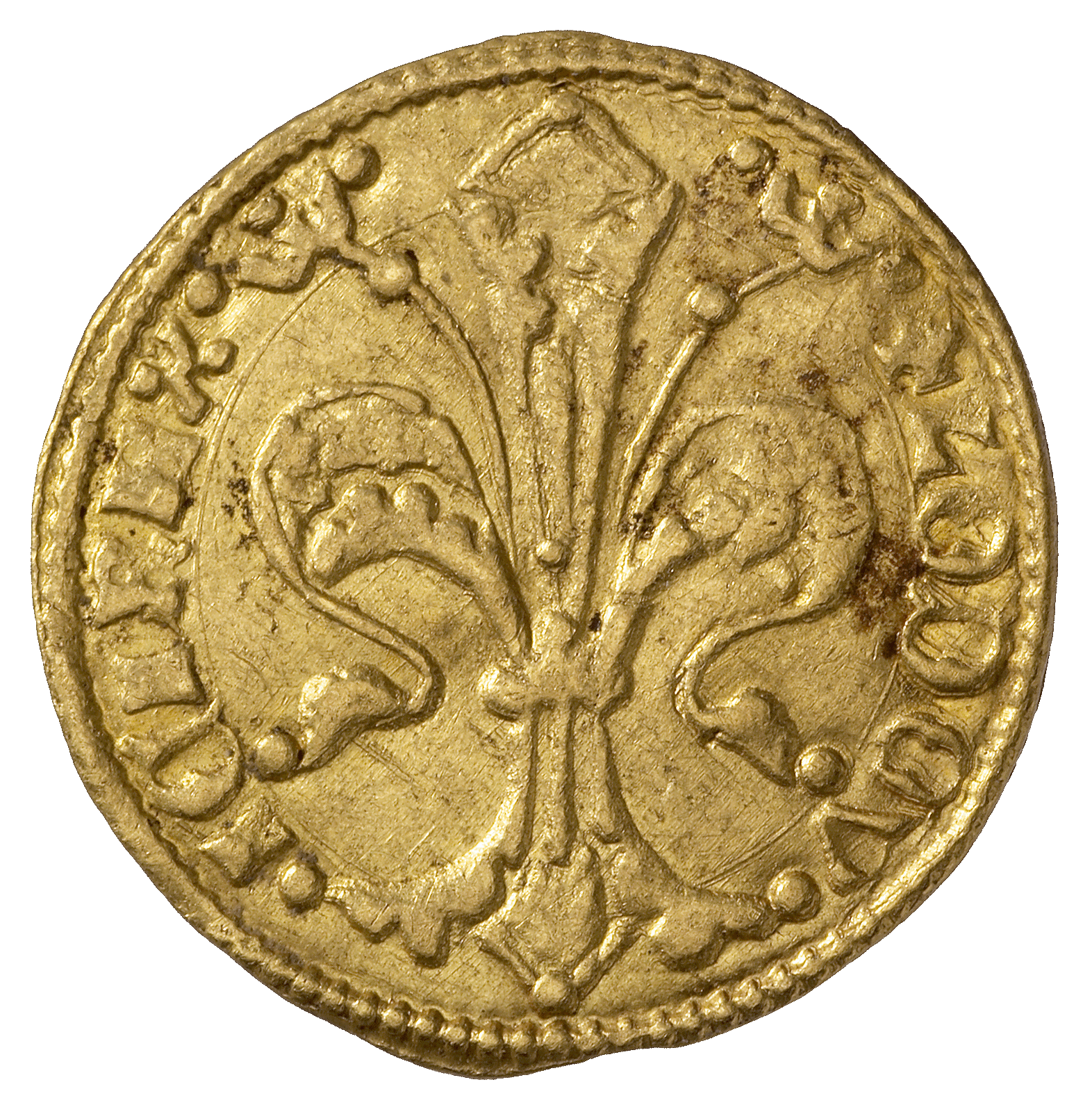 Holy Roman Empire, Kingdom of Hungary, Louis I of Anjou, Goldgulden (obverse)