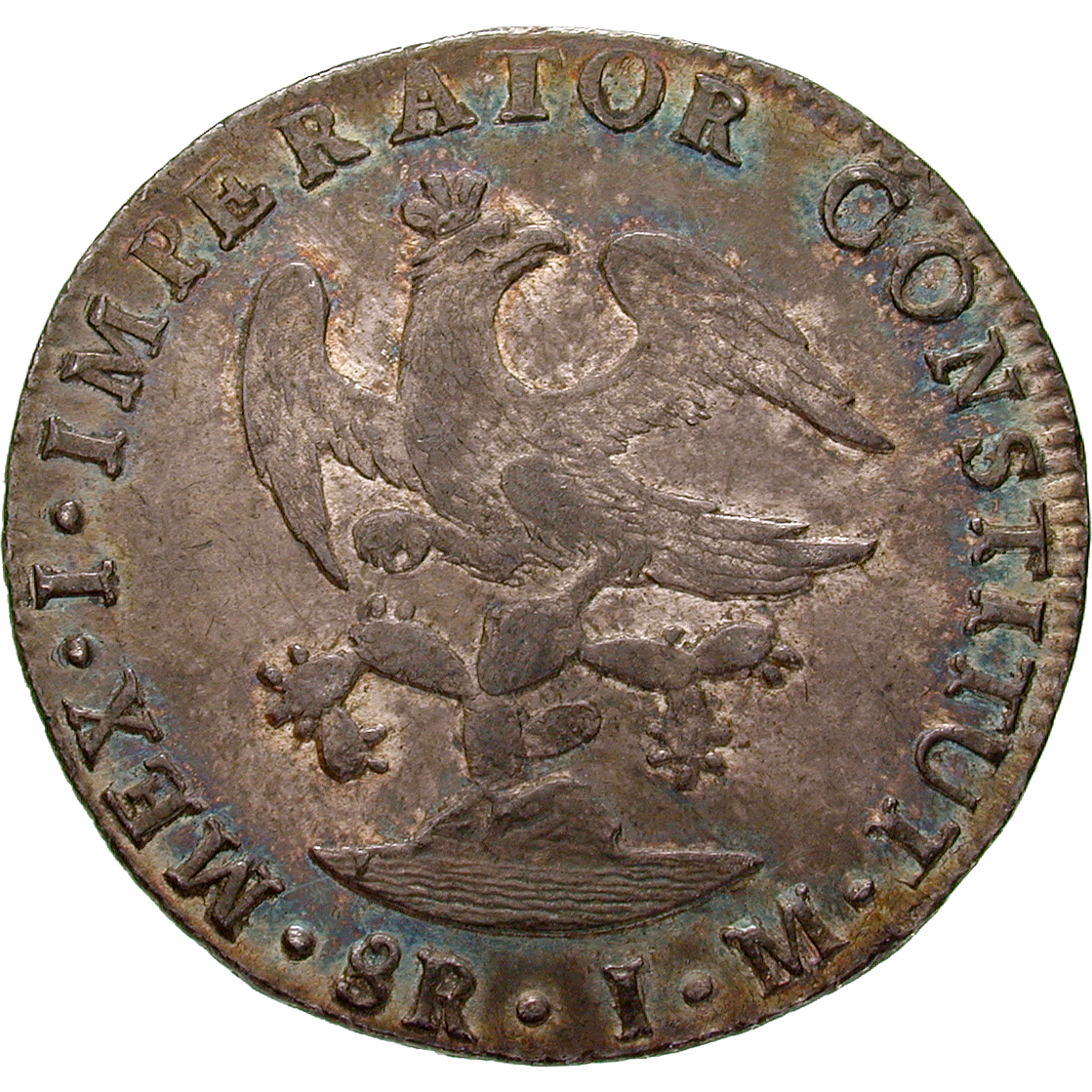 Empire of Mexico, Augustín I, Real de a ocho (Peso) 1823 (reverse)