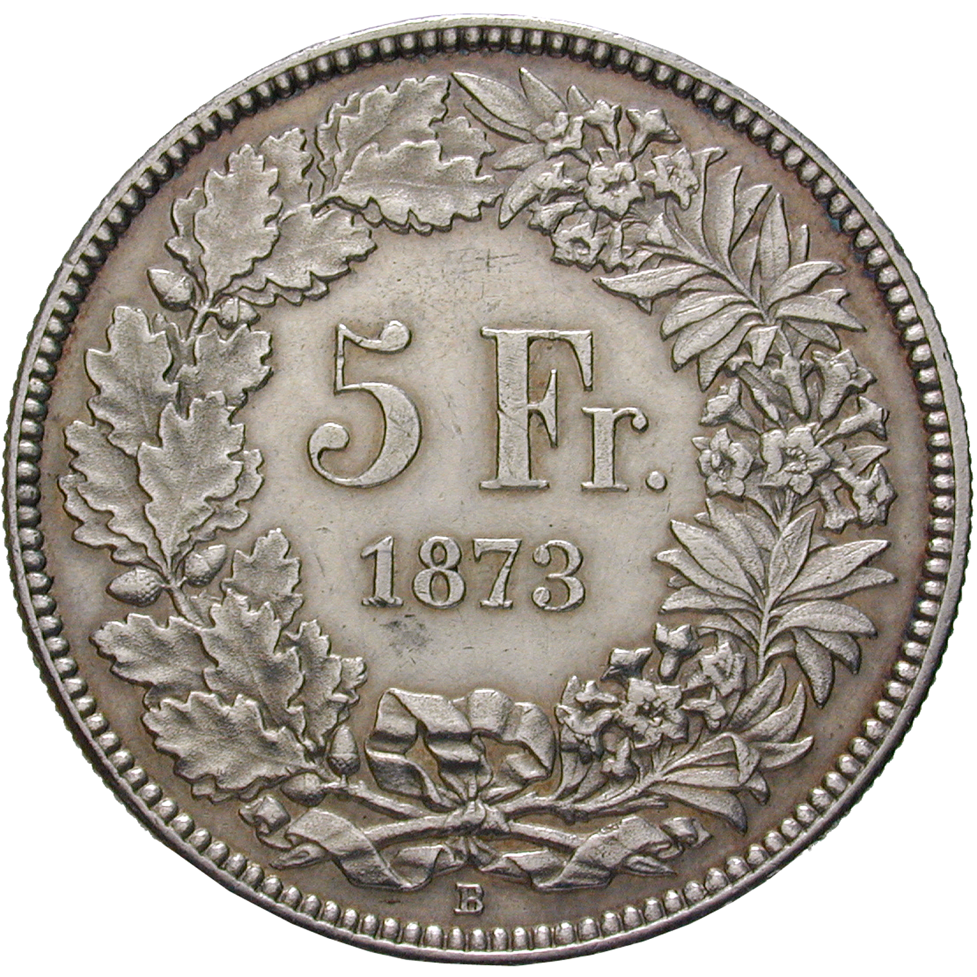 Swiss Confederation, 5 Francs 1873 (reverse)