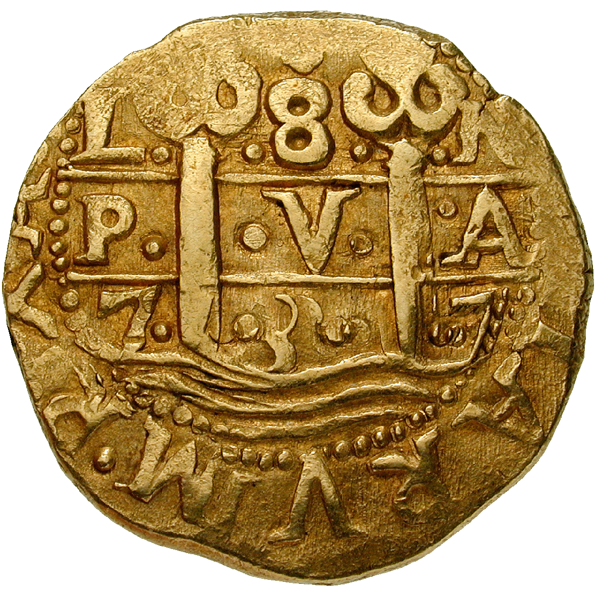 Viceroyalty of New Spain, Philip V, Doubloon of 8 Escudos (Onza) (reverse)