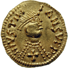 Visigoth Empire, Tremissis in the Name of Justinian (obverse)