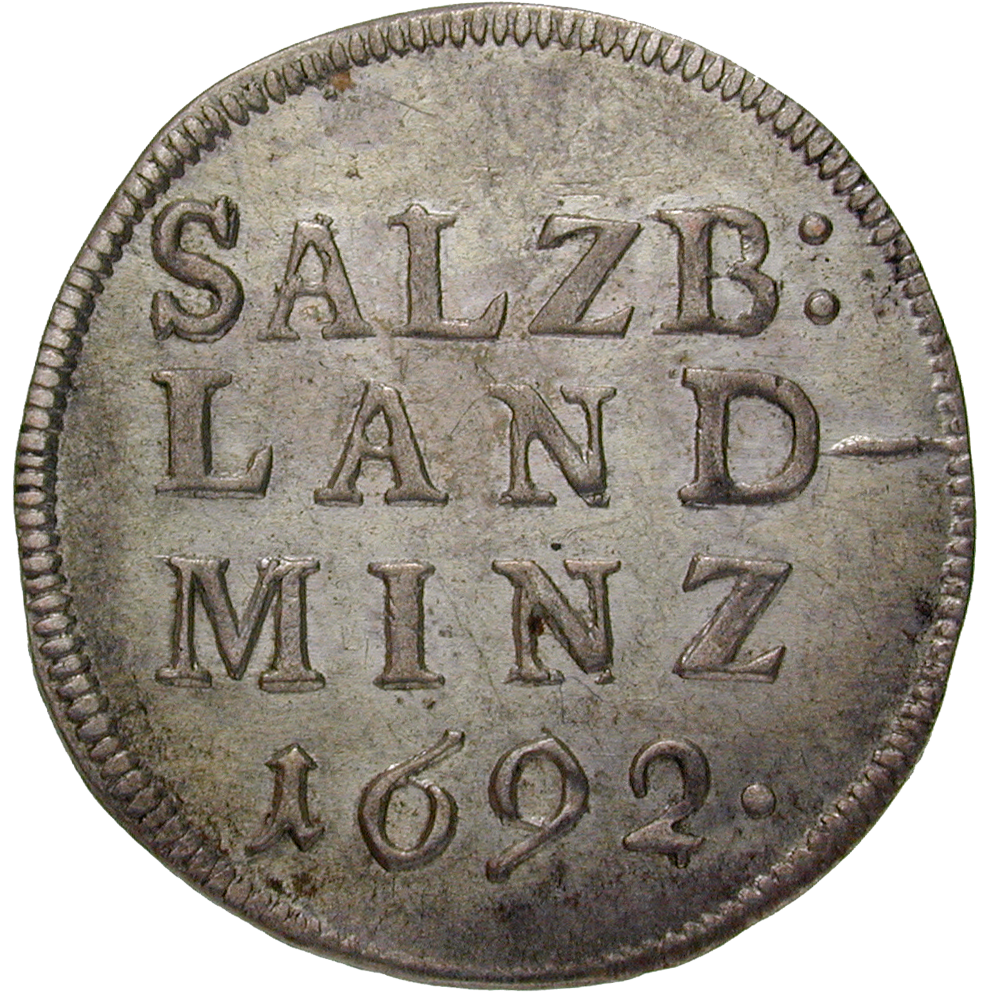 Holy Roman Empire, Archbishopric Salzburg, Johann Ernst of Thun and Hohenstein, Landbatzen 1692 (reverse)