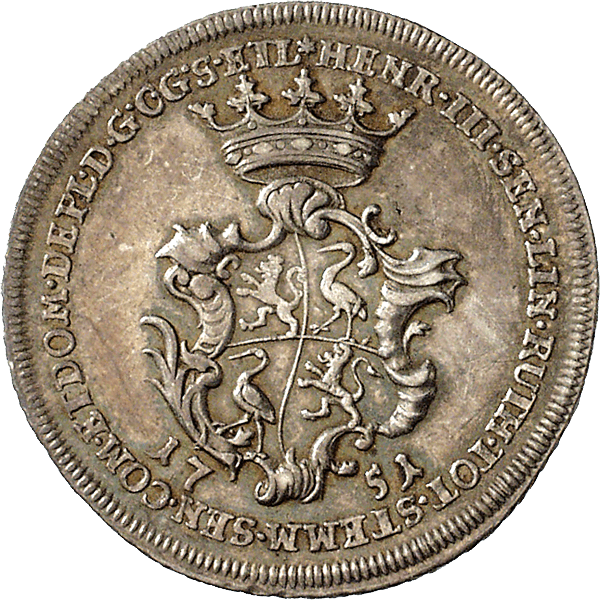 Holy Roman Empire, Reuss-Untergreitz, Henry III, 1/4 Species-Taler 1751 (obverse)