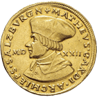 Holy Roman Empire, Archbishopric Salzburg, Matthäus Lang of Wellenberg, Quadruple Ducat 1522 (obverse)