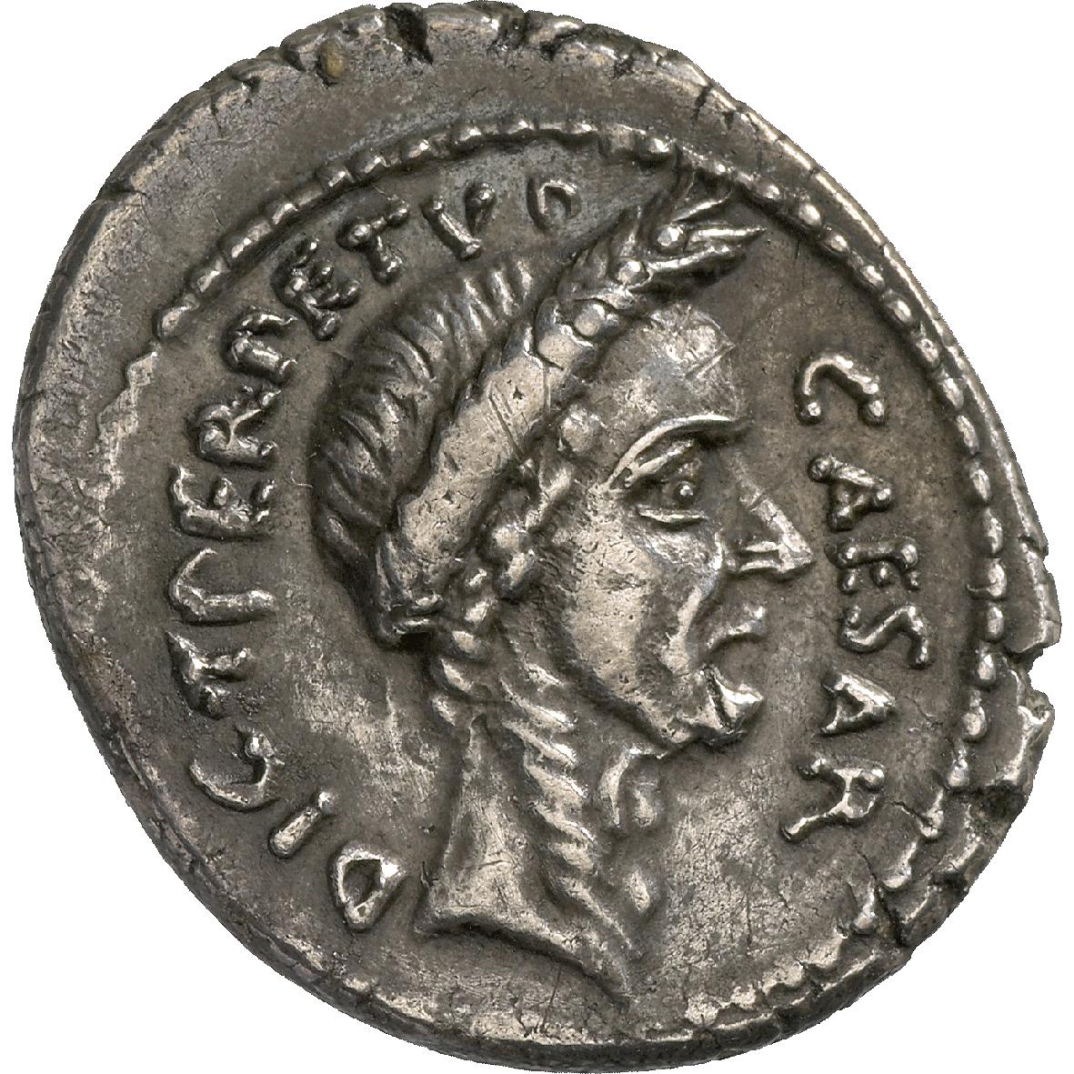 Coins sunflower foundation roman republic gaius julius caesar and p sepulius macer denarius obverse freerunsca Images