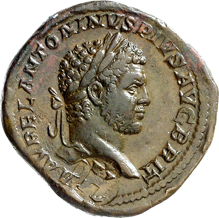 Roman Empire, Caracalla, Sesterce, Countermark from Tium in Bithynia (obverse)