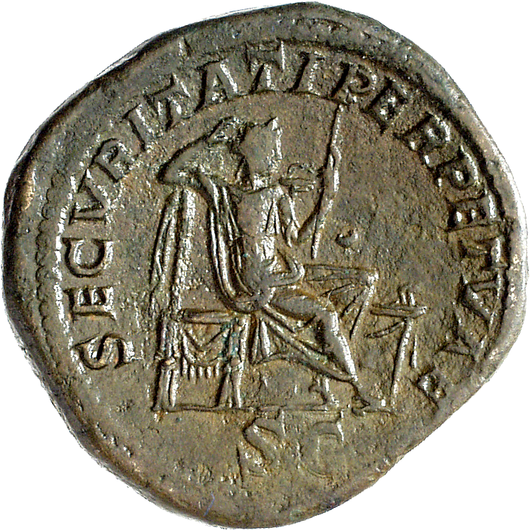 Roman Empire, Caracalla, Sesterce, Countermark from Tium in Bithynia (reverse)