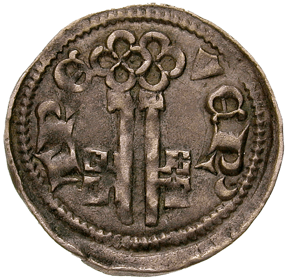 Holy Roman Empire, Prince-Bishopric of Treves, Baldwin of Luxembourg, Denarius (reverse)