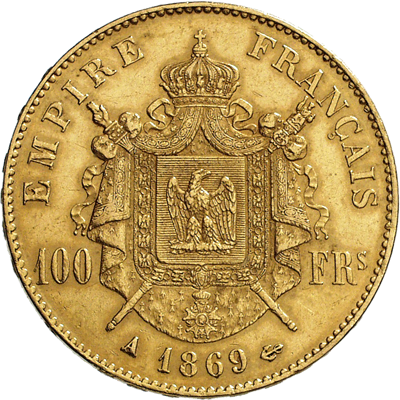 French Empire, Napoleon III, 100 Francs 1869 (reverse)