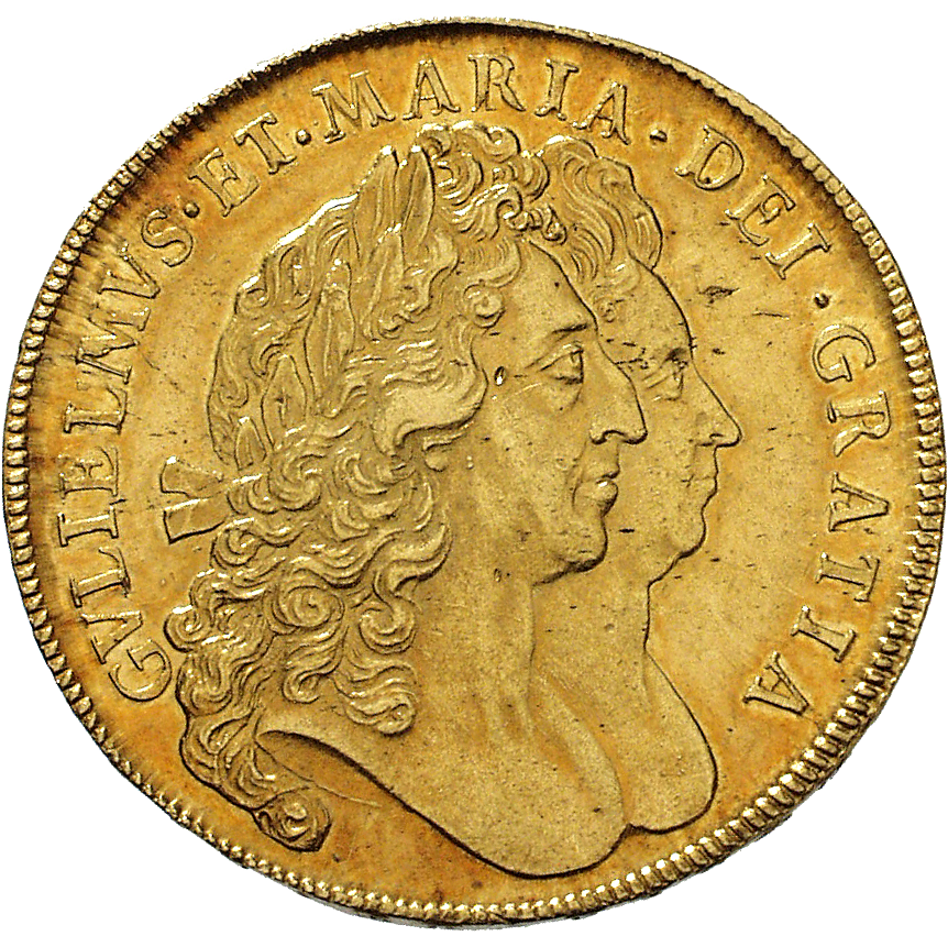 Kingdom of England, William III and Mary II, 5 Guineas 1692 (obverse)