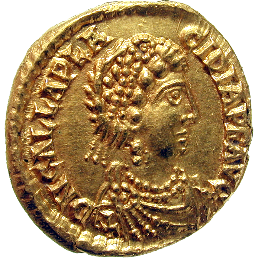 Roman Empire, Valentinian III for his Mother Galla Placidia, Tremissis (obverse)