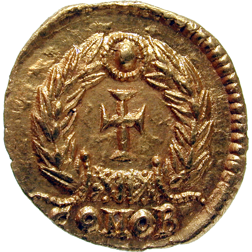 Roman Empire, Valentinian III for his Mother Galla Placidia, Tremissis (reverse)
