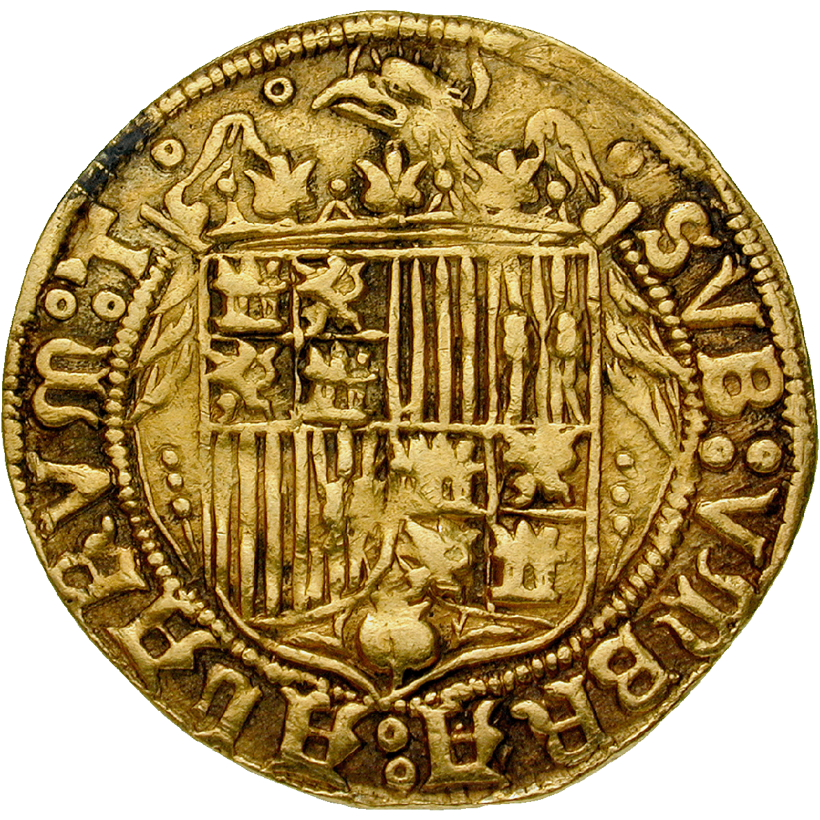 Kingdom of Spain, Isabella I and Ferdinand II, Double Excelente (reverse)