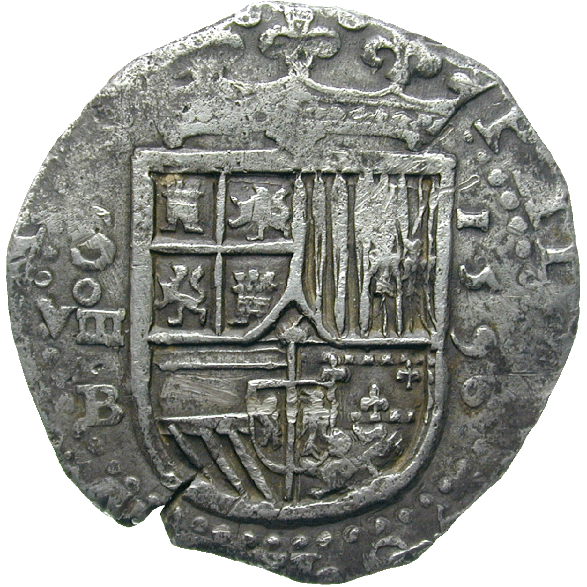 Kingdom of Spain, Philip II, Real de a Ocho (Peso) (obverse)