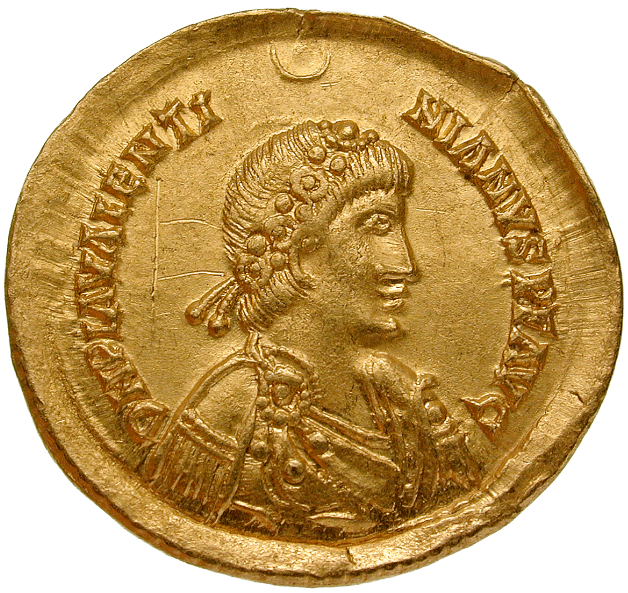 Visigoth Empire, Imitative Solidus in the Name of Valentinian III (obverse)