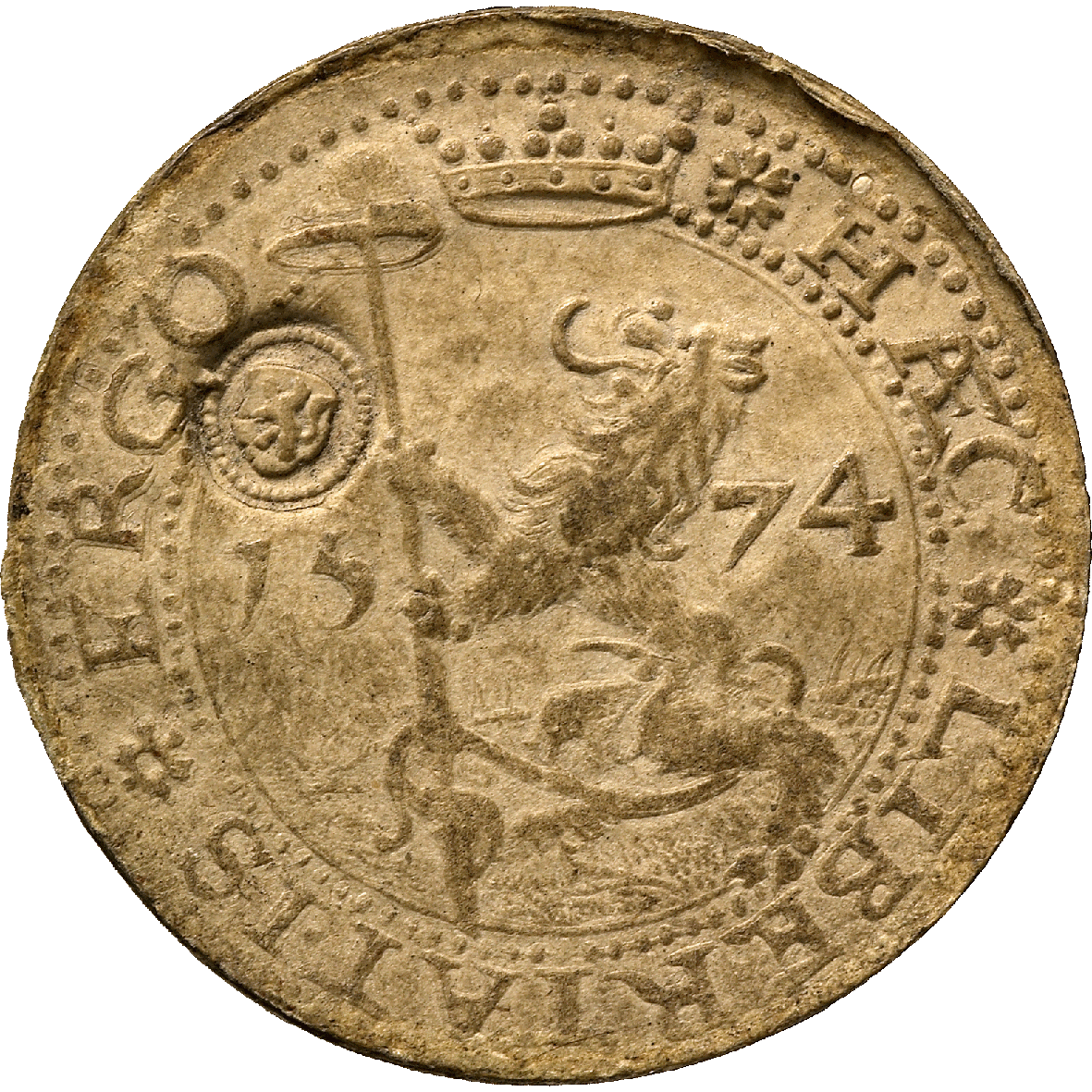 Netherlands, Leiden Besieged by the Spaniards, Guilder 1574 (obverse)