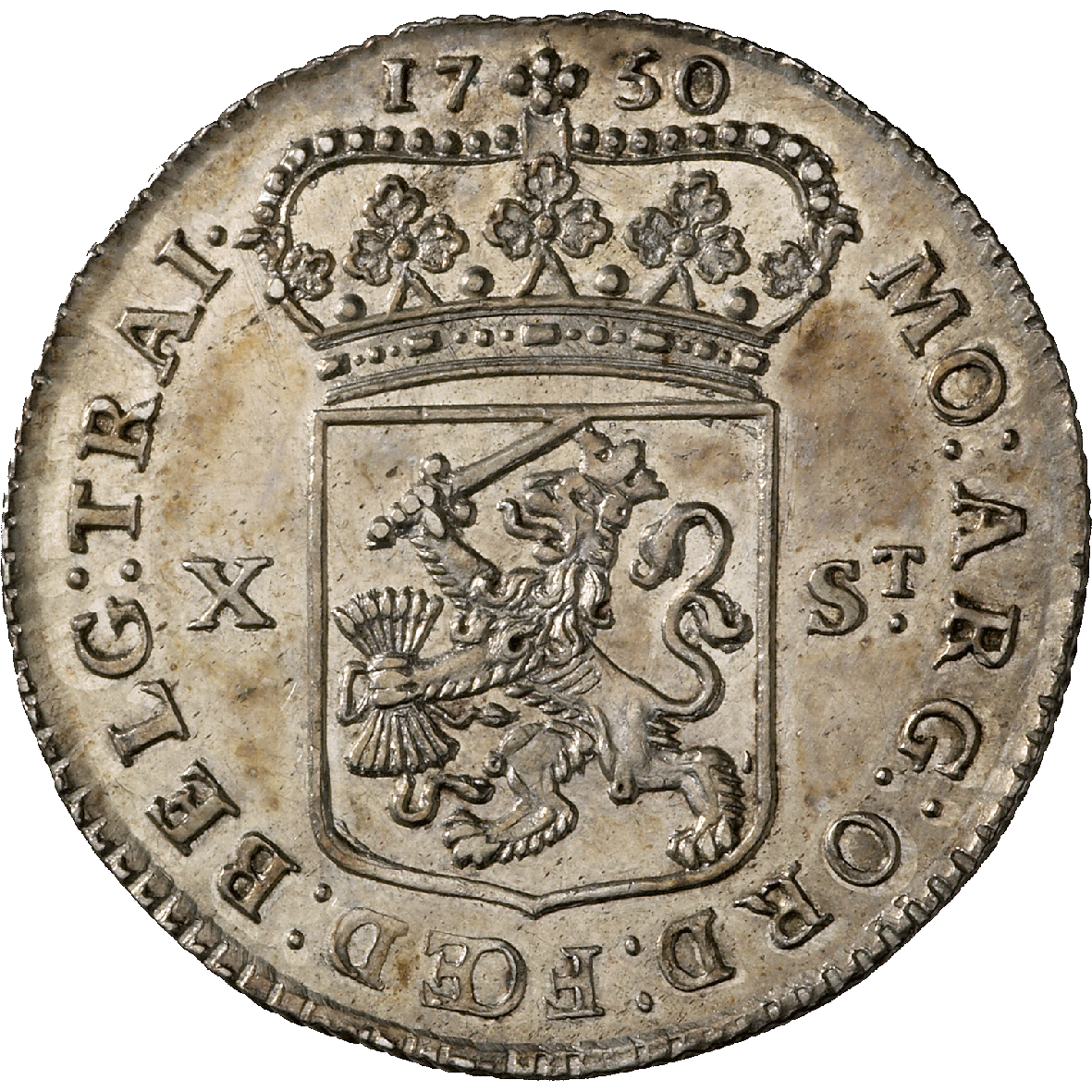 Republic of the United Netherlands, Province of Utrecht, 10 Stuivers 1750 (reverse)