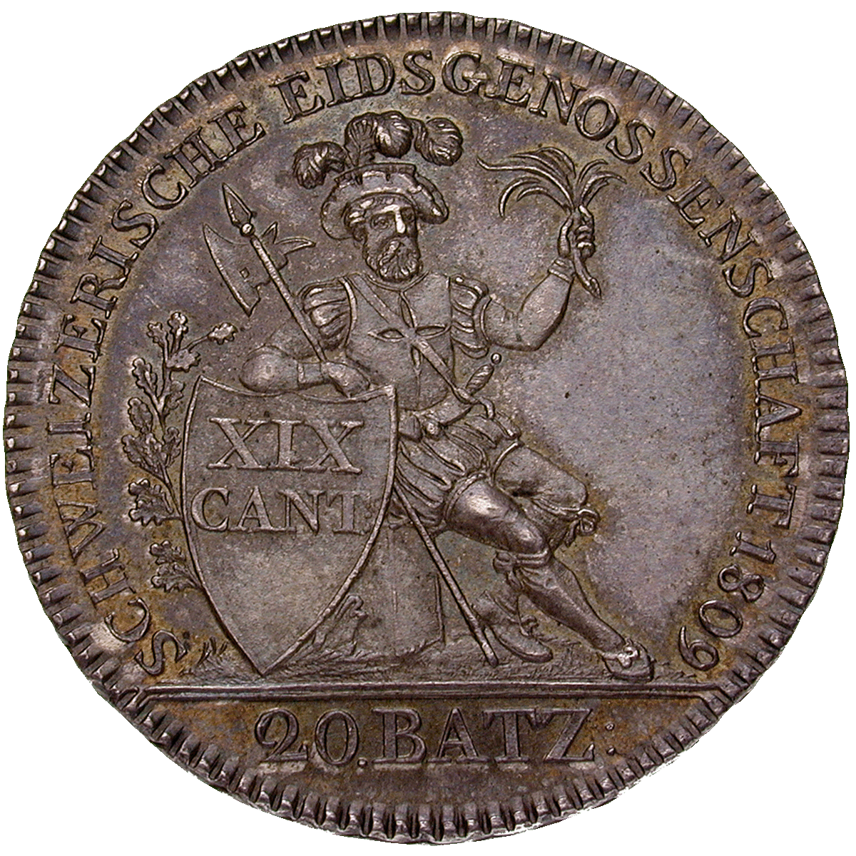 Canton of Argovia, Time of Mediation, 20 Batzen 1809 (reverse)