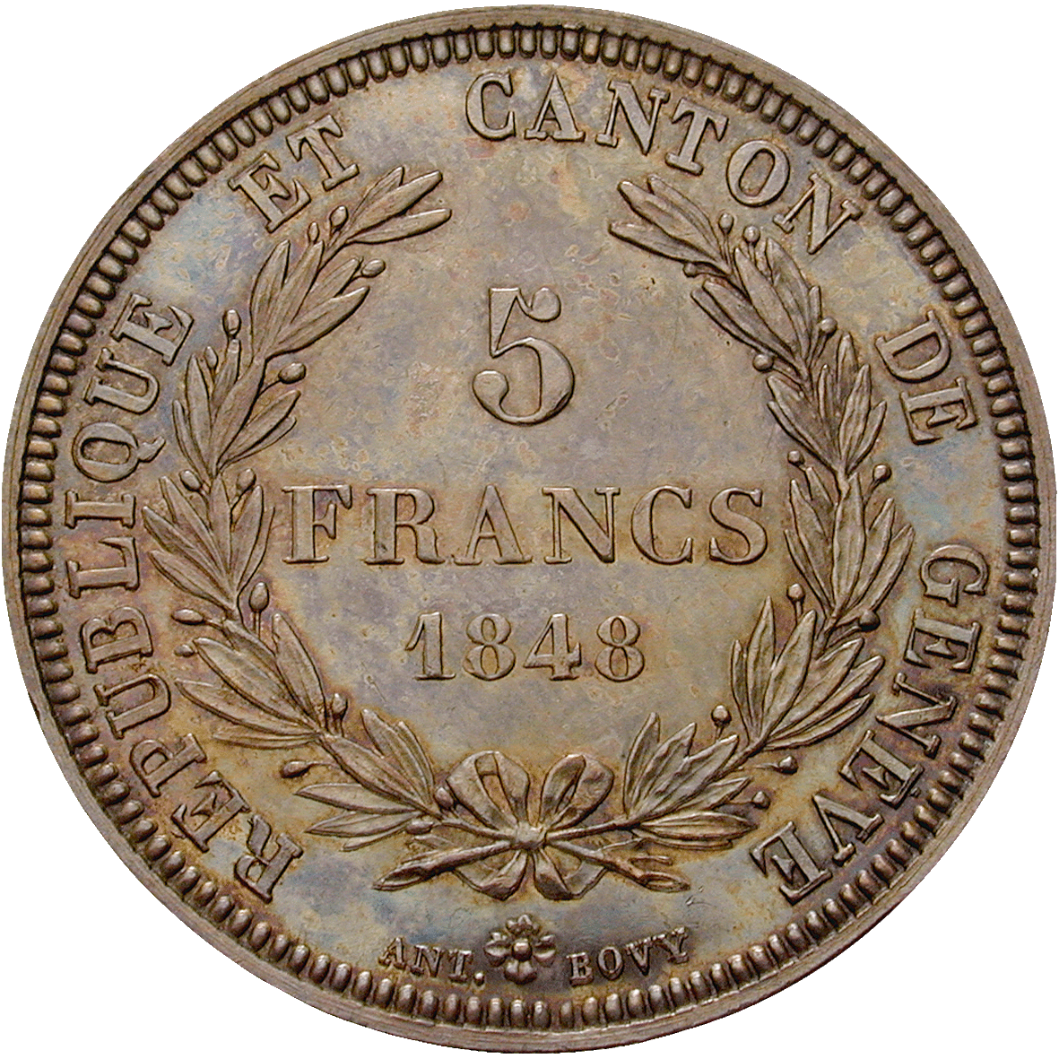 Canton and Republic of Geneva, 5 Francs 1848 (reverse)