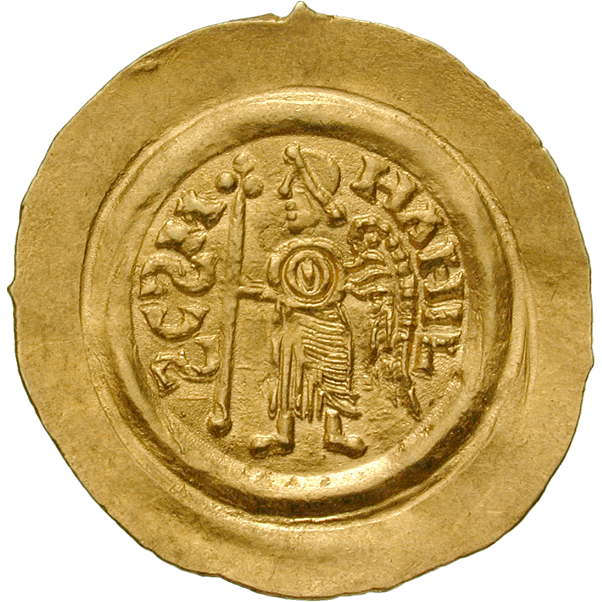 Kingdom of the Lombards, Liutprand, Tremissis (reverse)