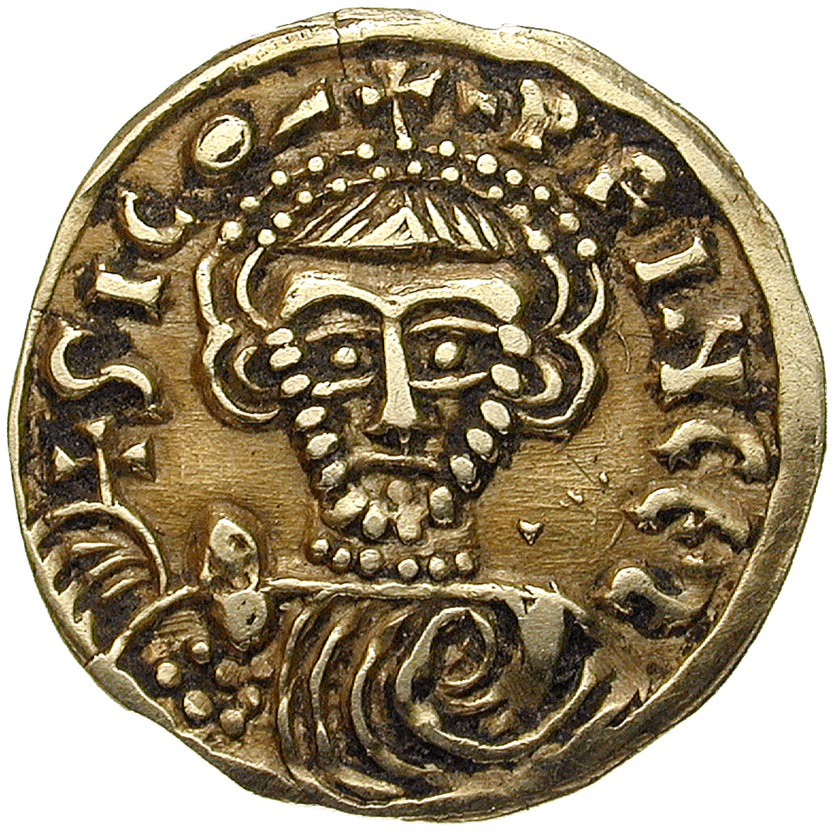 Kingdom of the Lombards, Duchy of Benevento, Sico, Tremissis (obverse)