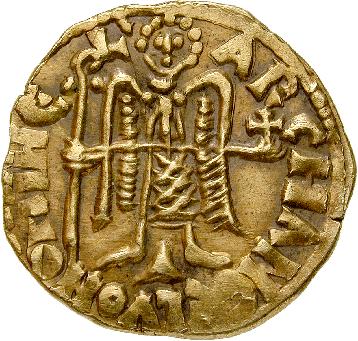 Kingdom of the Lombards, Duchy of Benevento, Sico I, Solidus (reverse)