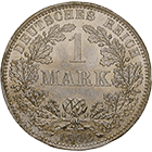 German Empire, Wilhelm II, 1 Mark 1892 (obverse)