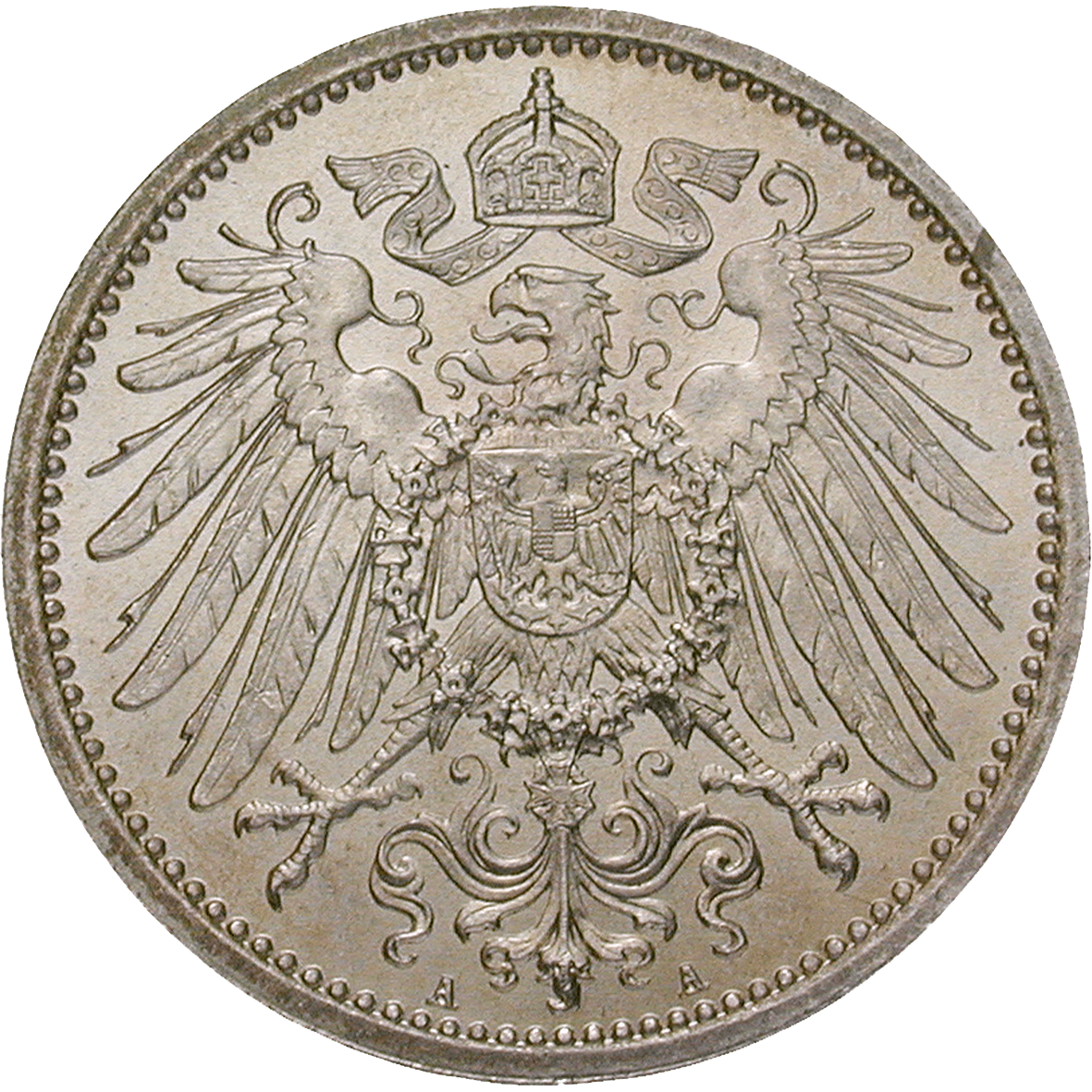 German Empire, Wilhelm II, 1 Mark 1892 (reverse)