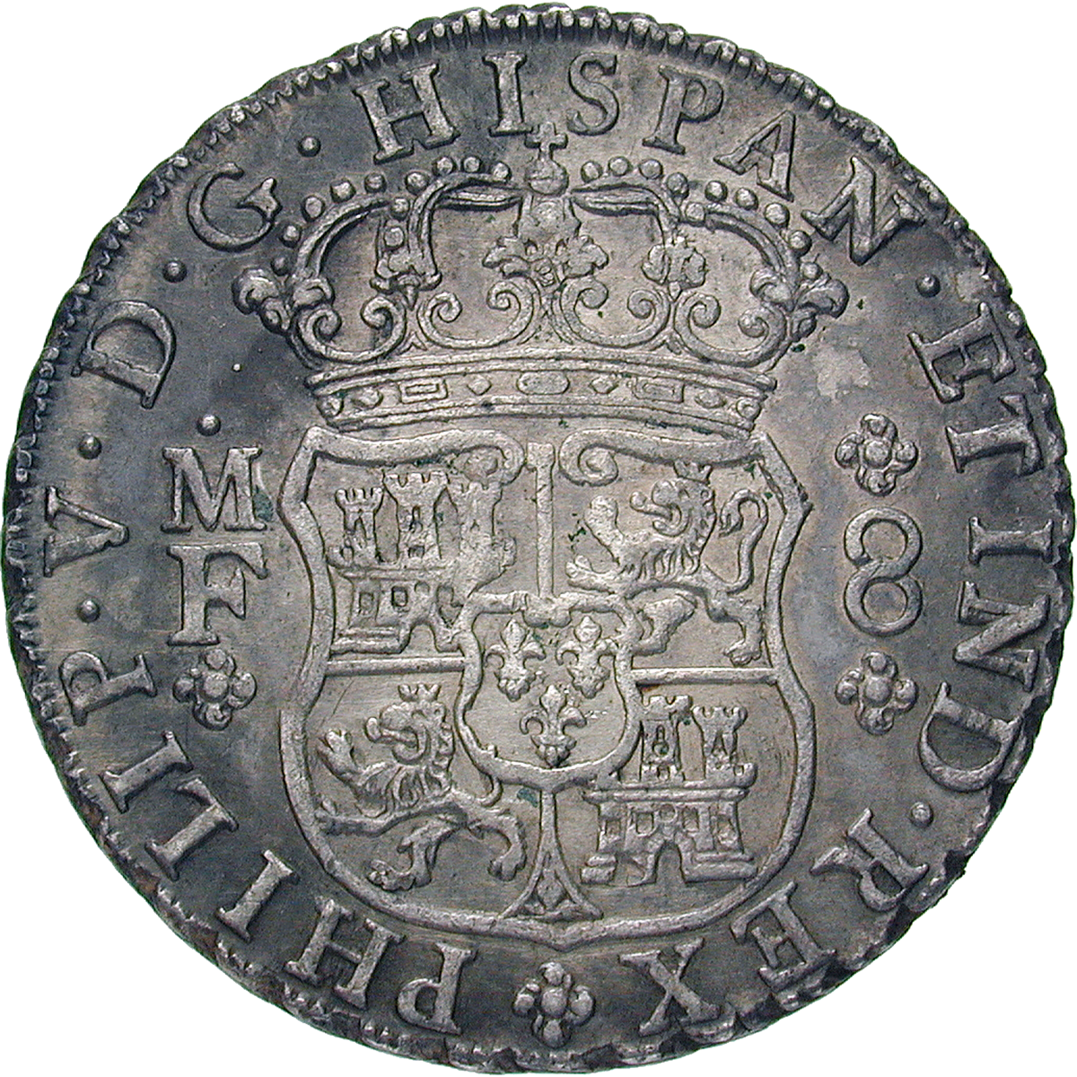 Viceroyalty of New Spain, Philip V, Real de a ocho (Peso) 1738 (obverse)