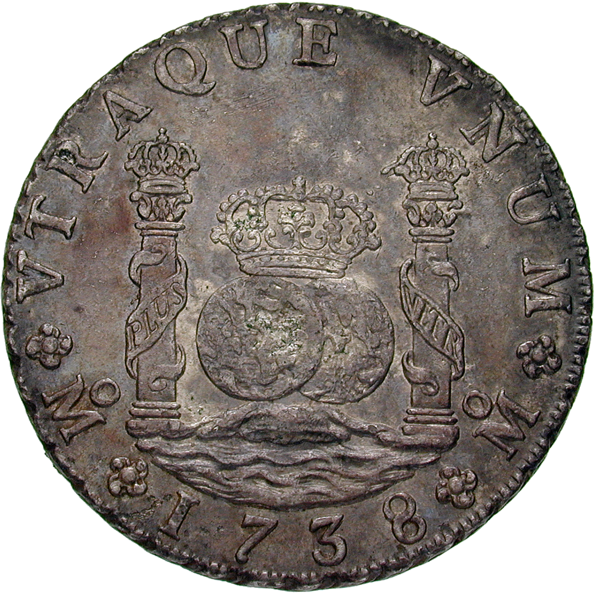 Viceroyalty of New Spain, Philip V, Real de a ocho (Peso) 1738 (reverse)